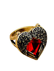 Gorgeous Rhinestone Embellished Faux Gem Alloy Ring For Women Heart Ring