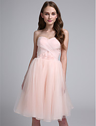 Lanting Bride® Knee-length Organza Bridesmaid Dress Ball Gown Sweetheart with Criss Cross