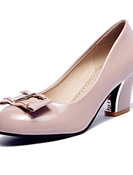 Women's Shoes Leatherette Spring / Summer / Fall / Winter Heels Wedding / Dress / Casual Chunky Heel Black / Red / Almond