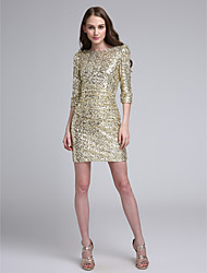 Short / Mini Sequined Bridesmaid Dress Sheath / Column Bateau with Sequins