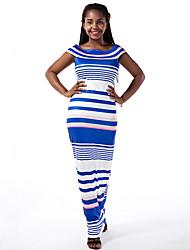 Women's Sexy Striped Bodycon Dress,Boat Neck Maxi Polyester