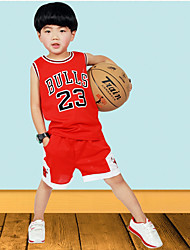 Boy's Sports Solid Clothing Set,Polyester Summer Red