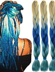 "Beige Sapphire Light Blue Ombre Crochet 24"" Yaki Kanekalon 3 Tone 100g Jumbo Braids Synthetic Hair"