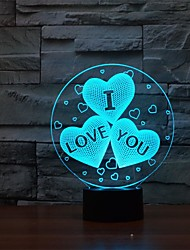 Magical  Illusion 3D LED USB Table  Light with  a Gift for Valentine's Day Color-Changing Night Light