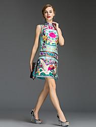 Damen Hülle Kleid-Ausgehen Einfach Druck Rollkragen Mini Ärmellos Blau / Rosa / Schwarz Polyester Sommer Mittlere Hüfthöhe