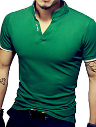 Masculino Camiseta Algodão / Elastano Cor Solida Manga Curta Casual / Tamanhos Grandes-Preto / Verde / Vermelho / Branco / Cinza