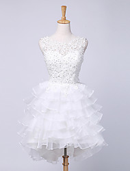 Ball Gown Wedding Dress Short / Mini Jewel Lace / Satin with Beading / Lace / Ruche / Tiered