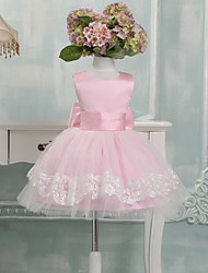 Ball Gown Knee Length Flower Girl Dress - Satin Tulle Sleeveless Jewel Neck with Bow(s) by XMF