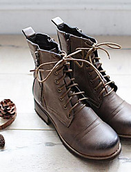 Women's Boots Spring / Fall / Winter Motorcycle Boots PU Chunky Heel Zipper Brown