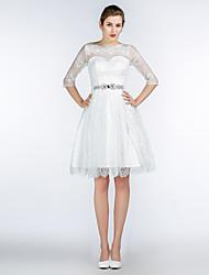 A-Fu Knee-length Jewel Bridesmaid Dress - Short Half Sleeve Lace Satin Tulle