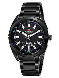 NAVIFORCE® Men's Luxury Brand Date Calendar Display Water Resistant Black Stainless Steel Quartz Sport Watch Cool Watch