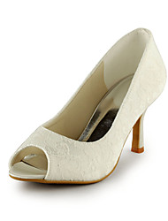 Women's Spring Summer Fall Lace Wedding Dress Party & Evening Stiletto Heel Slip-on Ivory White