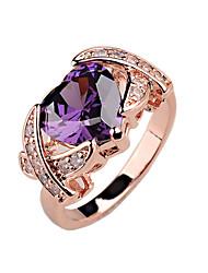 Luxury big Ladies Ring copper material inlaid CZ Ring rose gold platinum gold color