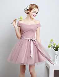 Knee-length Satin / Tulle Bridesmaid Dress-Candy Pink A-line Off-the-shoulder