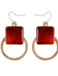 Classic Sweet Auger National Wind Drip Hollow Circles Vintage Red Gem Earrings
