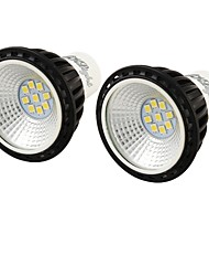 YouOKLight 2PCS GU10 5W 450LM 6000K White 9-2835 SMD LED Spotlight - Black + White (AC 100~240V)