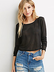 Women's Casual/Daily Simple Fall T-shirt,Solid Round Neck Long Sleeve Black Polyester Sheer