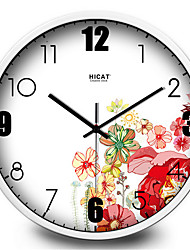 Simple Color Colorful Flowers Bedroom Wall Metal Quartz Wall Clock
