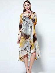 мэри янь& юй женщин собирается хитроумные свободные платья, цветочные вокруг шеи асимметричные ¾ рукав желтый белье
