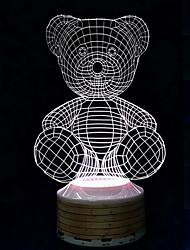 alto-falantes sem fio Bluetooth 3d urso noite luz colorida