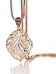 Exquisite Crystal Hollow Leaf Pendant Necklace Jewelry for Lady