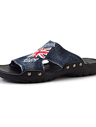 Men's Slippers & Flip-Flops Summer Comfort Denim Casual Flat Heel Black Dark Blue Blue