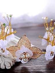 The Style Handmade Bride Headwear Head Decoration Pearl Flower Leaves