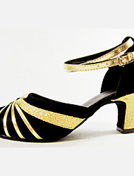 Women's Dance Shoes  Latin / Modern Heels Heel Outdoor /Square dance/ Performance Shoes Red / Silver / Gold