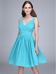 Short / Mini V-neck Bridesmaid Dress - Open Back Sleeveless Chiffon