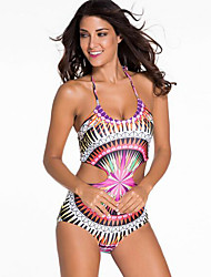 Women's Cut Out Lace Up National Style Padded Swimsuit Halter One-piece