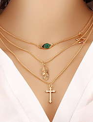 Alloy Triangle Layered Chain Necklace with Cross /Eye/Leaf Pendant