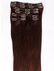 Evawigs #2 Natural Brown Color Clips in Straight Brazilian Human Hair Machine Made Wefts Full Head Hair Extensions