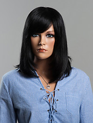 High Quality Full Hand Tied Mixed Long Straight Side Parting Human Hair Wigs
