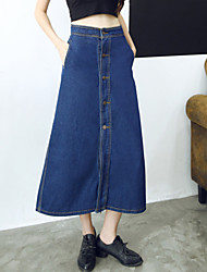 Women's Solid Blue A Line Denim Skirts,Casual / Day / Street chic High Waist Slim Thin Midi Cotton