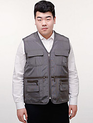 Men's Sleeveless Casual Jacket,Cotton Patchwork Brown / Gray