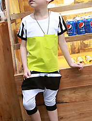 Boy's Sports Print Clothing Set,Cotton Summer / Spring Yellow