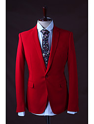 2017 Suits Slim Fit Notch Single Breasted One-button Polyester Solid 3 Pieces Red Straight Flapped None Red None