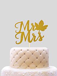 Decoración de Pasteles No personalizado Corazones Papel de tarjeta Cumpleaños Lazo Oro Tema Playa / Tema Clásico 1 OPP