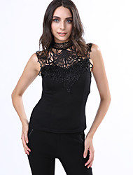 Women's Solid Black Vest,Sexy Slimming Stand Sleeveless Hollow Out