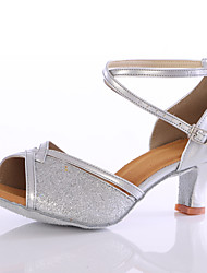 Women's Dance Shoes Sparkling Glitter  Latin Heels Customized Heel Indoor Blue / Pink / Silver / Gold
