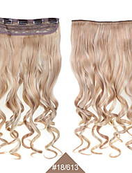 Curly Clip In Hair Extensions 1PC 24inch 60cm Hairpieces # 18/613 Mixed Color Curl Wavy Long Synthetic Hair Extensions