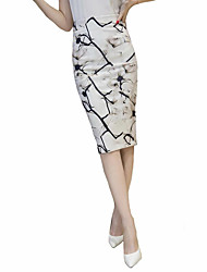 Women's Floral Beige Skirts,Plus Size Knee-length