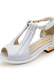 Girl's Summer Styles Leatherette Casual Low Heel Sparkling Glitter Silver / Gold