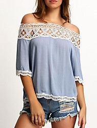 Women's Going out Simple Summer Blouse Patchwork Lace Hollow Out Boat Neck ½ Length Sleeve