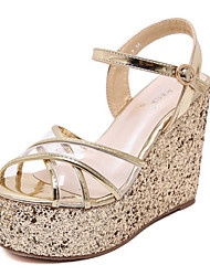 Women's Shoes PU Summer Wedges / Open Toe Sandals Dress Wedge Heel Sequin Silver / Gold
