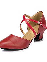 Non Customizable Women's Dance Shoes Leather Leather Salsa Sandals / Heels Chunky Heel Beginner / Indoor Red