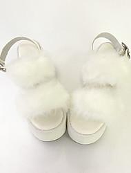 Sapatos Doce Lolita Salto Plataforma Sapatos Cor Única 8 CM Branco Para Feminino Pele