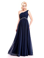 Formal Evening Dress Sheath / Column One Shoulder Floor-length Chiffon with Crystal Detailing