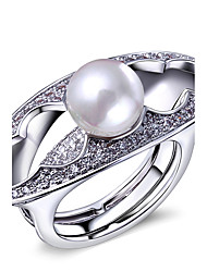 Exaggeration Rings Imitation Pearls & White Cubic Zirconia Rings 18K Gold and Platinum Plated Jewelery Women Ring