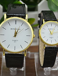 Couple's Casual PU Leather Quartz Watch